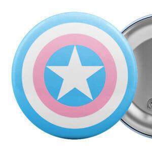 "Transgender Super Hero Shield Badge Button Pin 2.25"" Trans Flag Pride"