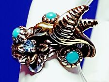 BRASS/STERLING HUMMINGBIRD TURQUOISE RING BY: NATIVE AMERICAN FRITZ CAUSES Sz 7