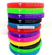 15x NEW Serenity prayer Bibie Silicone bracelets 7mm width Wristbands Wholesale
