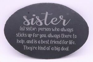 """SISTER DEFINITION LASER ENGRAVED SLATE WALL PLAQUE 11.5"""" X 7.75"""" OVAL GIFT NEW"""
