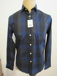 STRUCTURE, MEN'S NEW BLACK/BLUE COTTON BL LONG SLEEVED SHIRT W/POCKET, SIZE S