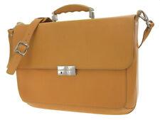 SCHEDONI Men's 2Way Shoulder Bag Briefcase Leather Mustard Yellow Yellow