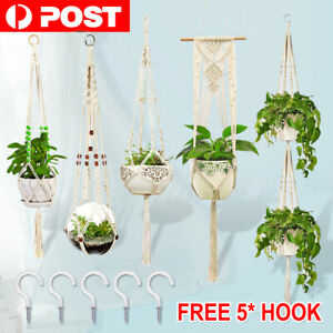 5PCS Pot Holder Macrame Plant Hanger Hanging Planter Basket Hemp Rope Braided AU