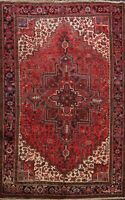 Vintage RED Traditional Heriz Hand-knotted Area Rug Geometric Oriental WOOL 8x11