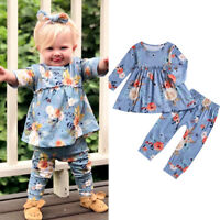 2pcs Toddler Kids Baby Girl Floral Dress Tops+Pants Leggings Outfits Set Clothes