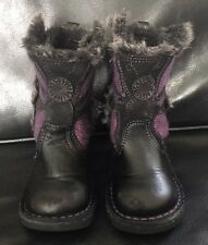 Girls Kickers Butterfly Boots Black With A Purple Butterfly Uk SZ Infants 5 VGC
