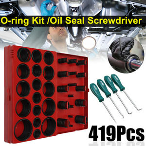 419Pcs Rubber O-ring Kit & 4Pcs Oil Seal Screwdrivers Set Pick & Hook Hand