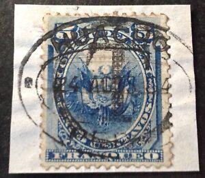 Peru Huacho 1884 5 Cent Blue stamp on piece vfu