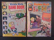 2 Richie Rich comics, Harvey World, Gems #1 Sept 1974 G+, Bank Book #3 Feb 1973