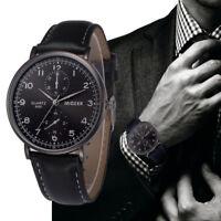 MIGEER Herren Mode Retro Lederband Firma Uhr Analoge Legierung Quarz Armbanduhr