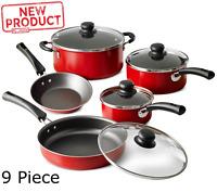 9 Piece Kitchen Cookware Set Pots Pans W/ Lid Cooking Home Aluminum Nonstick Red