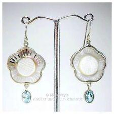 Echte 1,5 ct Topas Ohrringe graviertes Perlmutt 925er Silber Blautopas Ohrhänger