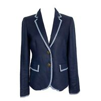 J.Crew Collection Classic Schoolboy Blazer in Linen Navy Blue Size 2