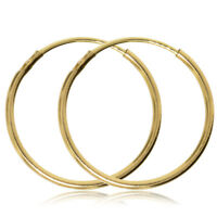 9CT GOLD HOOP EARRINGS 14MM PLAIN SLEEPERS TUBE CREOLE YELLOW CREOLE GIFT BOX