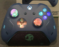 Sport Blue Xbox One Controller with LED GLOWING MOD Halo COD Apex Fortnite