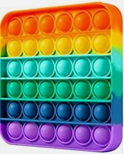 Push it Pop Bubble Sensory Fidget Toy Stress Relief Silent Autism Rainbow Square