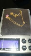 ~Small~Beautiful 9ct Gold Ruby &  Diamond Necklace ~Pendant ~Not Scrap~Not 18ct~