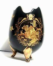 Black & Gold Gilded Limoges Footed Broken Egg Vase Victorian Greek Scene Decor