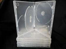 5 x 3 DISCO 3 Way DVD CD CASE TRASPARENTE. 14 mm spina dorsale. Confezione Nuovo di zecca di cinque.