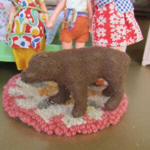 Antique Miniature Bear Figurine Dollhouse Stuffed Animal 1800s Wool Circus Toy