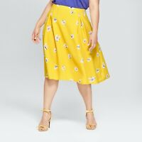 Womens Floral Print Birdcage Midi Skirt - Who What Wear Yellow 8 NWT