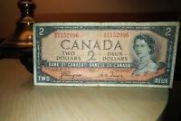 1954 Devil's Face $2 Dollar Bank of Canada Banknote AB1152996