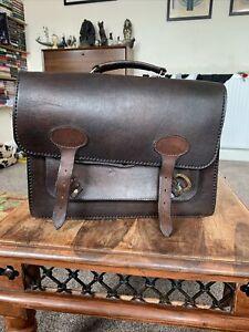 """Men's Brown leather satchel 11x15x3.5"""""""