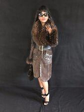 Embellished Designer Elibol Princess long Shearling suede & Fur trim Coat 36 S