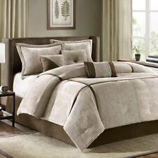 New Queen Size Dallas 7 Piece Comforter Set Neutral Brown Madison Park Mp10-313