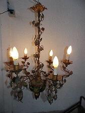 ANCIEN GRAND LUSTRE EN FER A FLEURS/6 LAMPES/BIG OLD CHANDELIER FLOWERS/N°FE-4