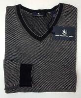 NWT $150 Hart Schaffner Marx LS Sweater Mens Size M 100% Merino Wool Grey Stripe