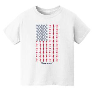 Hook N Buoy American Flag Shark Unisex Kids Short Sleeve Graphic Tee / T-Shirt