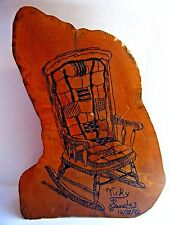 Natural Wood Tree Etched Carved Rocking Chair Signed Vicky Sanchez 1992 Hanging