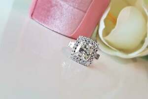 14K White Gold Plated Three Stone  Engagement Ring 3 Ct Cushion Cut Moissanite