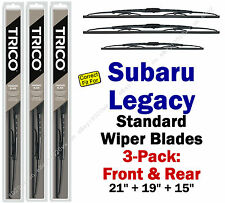 Wiper Blades 3pk Front Rear Standard - fit 1995-1999 Subaru Legacy 30210/190/150