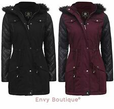 Cotton Patternless Parkas for Women