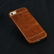 PIERRE CARDIN Brown Genuine Leather Cover Hard Back Case For Apple iPhone SE/5S