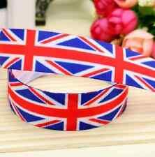 """1m Reino Unido Union Jack Bandera Británica cinta 7/8"""" 22mm cinta de placa de pastel de arco"""