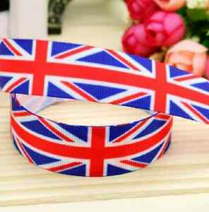 "1m UK UNION JACK BRITISH FLAG RIBBON 7/8"" 22mm BOW CAKE BOARD RIBBON"