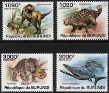 DINOSAURS (Triceratops / Giganotosaurus / Ankylosaurus) Stamp Set (2011 Burundi)