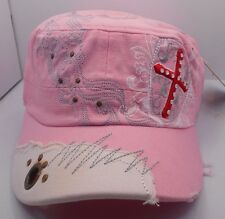 Womans Distressed Cadet Style Hat Cap in Pink w/ Cross & Shield Design NEW HH1