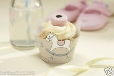 baby shower party Rock A Bye Baby 10 cute rocking horse cupcake wraps