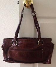 XOXO Womens Brown Vinyl Hand Shoulder Bag Purse