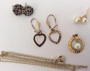 Job Lot Vintage 375 9ct Gold Jewellery Gem Studs & Drop Earrings Pearl Pendant