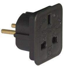 BLACK UK To EU Euro Europe European Approved Travel Adaptor Plug - 2 Pin Adapter