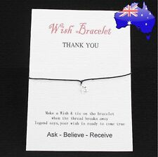 Thankyou Wish Star Charm Black Friendship Bracelet Gift + Message Card Jewellery