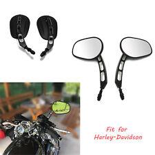 Black Motorcycle Mirrors Cruiser Universals For Harley Davidson Street Glide US