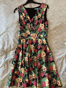 Fever London Floral Summer Sleeveless  Dress (Uk 8) Ex Condition / Never Worn