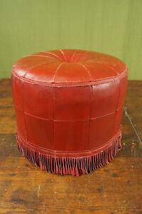 60er Vintage Stool Seat Cushion Pouf Red Leather Ottomane Footrest