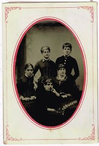 Quarter Plate Tintype of Five Young Ladies 1870's Circa